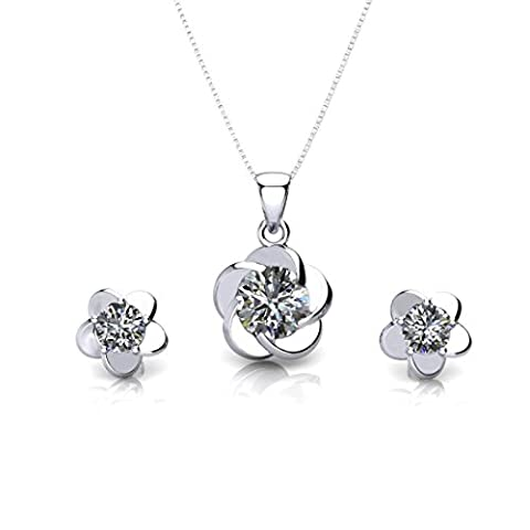 ONECK Jewellery Set 925 Sterling Silver 5A Cubic Zirconia Plum Blossom Flower Crystal Silver Necklace Earrings Set for Women with Exquisite Jewellery Gift Box