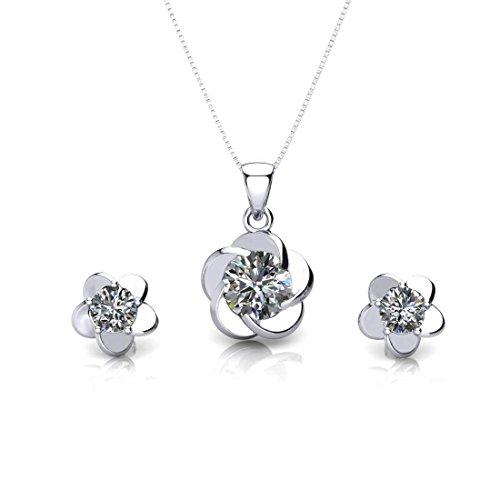 ONECK Schmuck set Kette Damen Ohrringe 925 Echt Silber 45cm Halskette mit Anhänger Blume als Geschenk mit exquisite Schmucketui