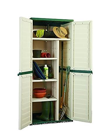 Outdoor Waterproof Plastic Utility Cabinet Vertical Partition & 4 Shelves (Green / Beige)