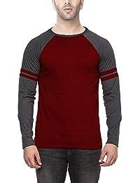 Veirdo Plain/Solid Anthra Maroon Full Sleeve Round Neck Men's Cotton Tshirt-Raglan