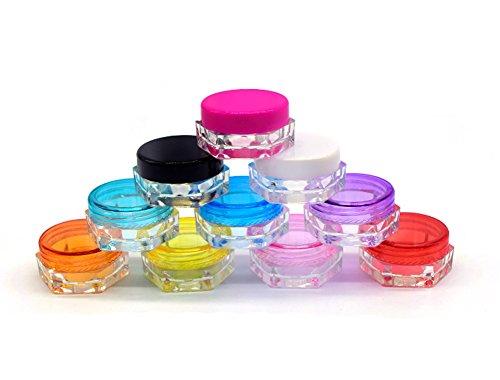 3g / 3ml bocaux cosmétiques vides en plastique hexagone avec des couvercles pour des crèmes / échantillon / maquillage / r Lotion de stockage maquillage baume testeur de voyage (25) (blanc)