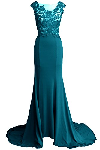 MACloth Women Mermaid Long Prom Dress 2017 Lace Jersey Formal Party Evening Gown Teal