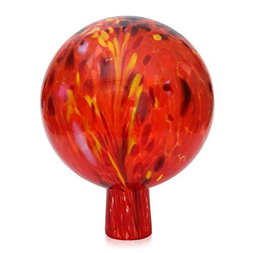 Gartenkugel Rosenkugel mit Granulat rubinrot d 15cm mundgeblasen handgeformt Lauschaer Glas das Original