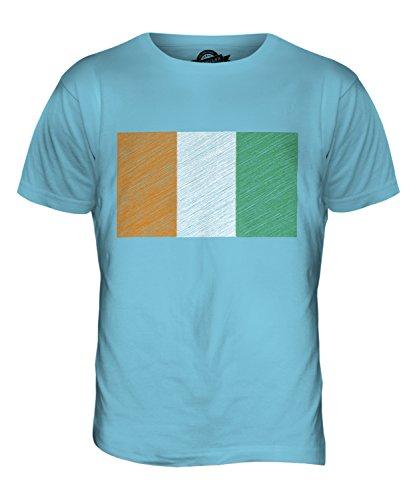 CandyMix Elfenbeinküste Kritzelte Flagge Herren T Shirt Himmelblau