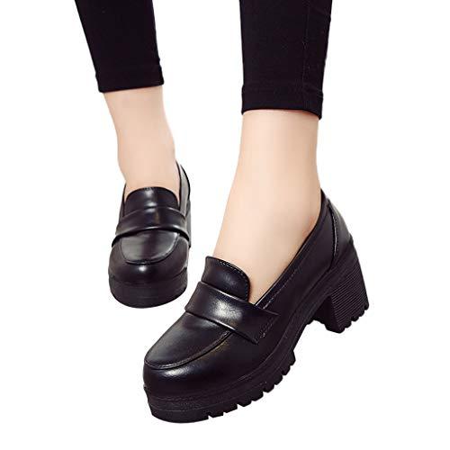 Zapatos Mujer De Tacón Alto Ancho 3cm De PU Con Plataforma Bailarinas Bombas De Color Solido Retro...