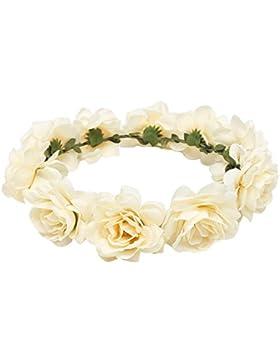 TININNA Diadema guirnalda de flor,Elegante Floral corona guirnalda para fiesta de boda Featival-Beige