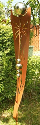 Rost Garten Gartendeko Rost Stecker Rostsäulen mit 5 Edelstahlkugeln