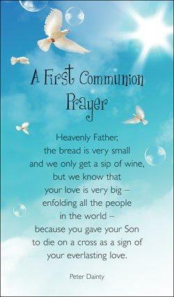 Primera Comunión tarjeta de oración–rezando