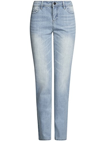 oodji Ultra Damen Gerade Geschnittene Jeans Basic Blau (7000W)