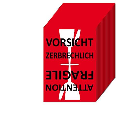 Aufkleber Sticker Etiketten Label Vorsicht Glas zerbrechlich Attention Fragile Versand Umzug Paket (25) -