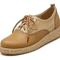 ZQ Zapatos de mujer - Tac¨®n Bajo - Punta Redonda - Planos - Exterior / Oficina y Trabajo / Casual - Semicuero - Negro / Rojo / Almendra , green-us9.5-10 / eu41 / uk7.5-8 / cn42 , green-us9.5-10 / eu4