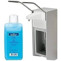 Preisvergleich für 500 ml Wandspender Aluminium gebürstet von Medi-INN Wandhalter + Zubehör Auswahl Sterillium (Spender+Sterillium)