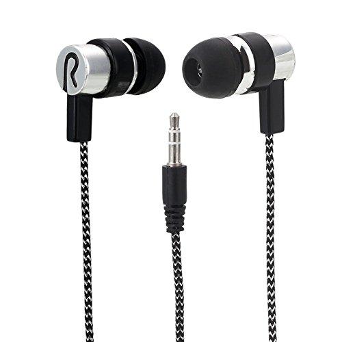 Cewaal B01 Auricular con micrófono en la oreja de 3,5 mm para auriculares con micrófono en la oreja, cable trenzado sin enredos, para iPhone Android Blanco