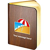Personalised Wooden Folding Magnetic LED Book Lamp Featuring Beach-with-Umbrella Emoji