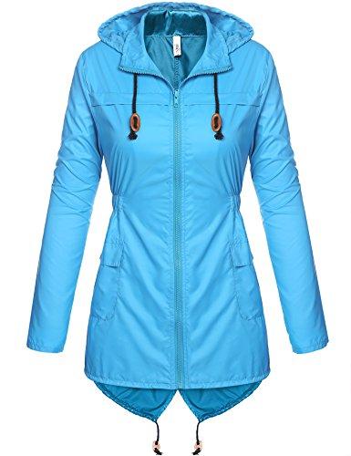 Beyove Damen Windjacke Regenjacke Regenmantel Regenparka Wassersäule - Vier Jahreszeiten (EU 44(Herstellergröße: XXL), Blau)