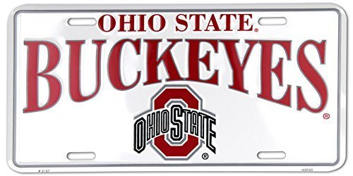 Ohio State Buckeyes White Metal License Plate by Tag City -