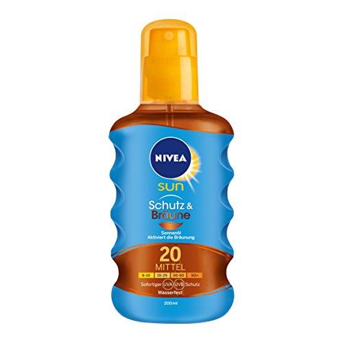 NIVEA SUN Sonnenöl-Spray mit Bräunungs-Aktivierung, Lichtschutzfaktor 20, 200 ml Sprühflasche, Schutz & Bräune