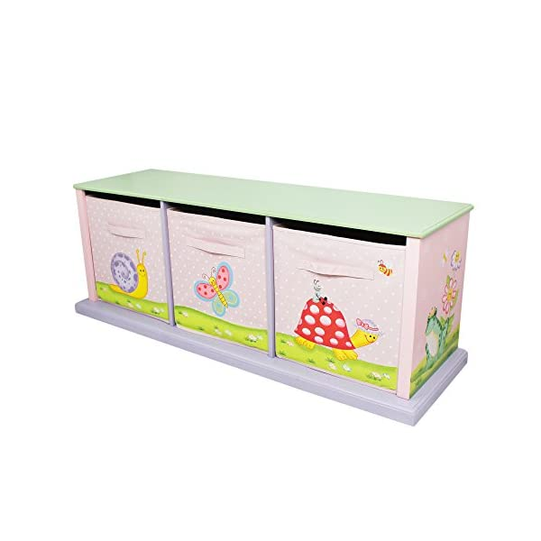 Fantasy Fields by Teamson Sunny 11 Fantasy Fields By Teamson Colourful organised storage cabinet for those keepsakes, toys, games and nik naks. Dimensions 121.92 x 37.47 x 43.82. 3 canvas bags included Sturdy and free standing. Suitable for Kids Bedroom and Playroom enchancing your little ones organisational skills Teach your kids colour and character recognition and enhance their imaginative minds.  Great for encouraging children's independence 1