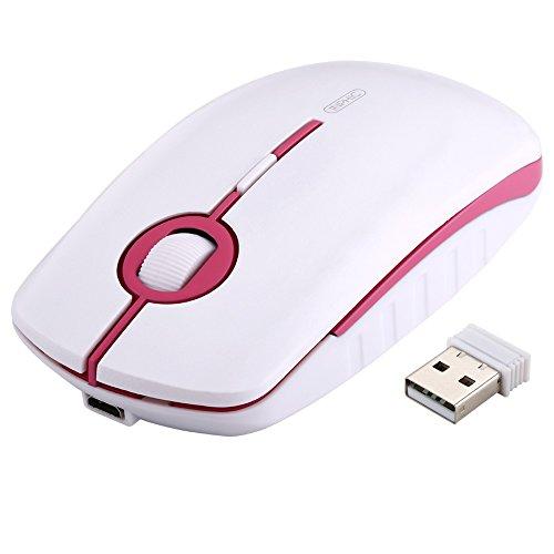 Kabellose Maus, Inphic Slim Silent Click Wiederaufladbare Maus Kabellos, 2.4G USB Optische Mäuse PC Laptop Computer Funkmaus Mini mit Nano...