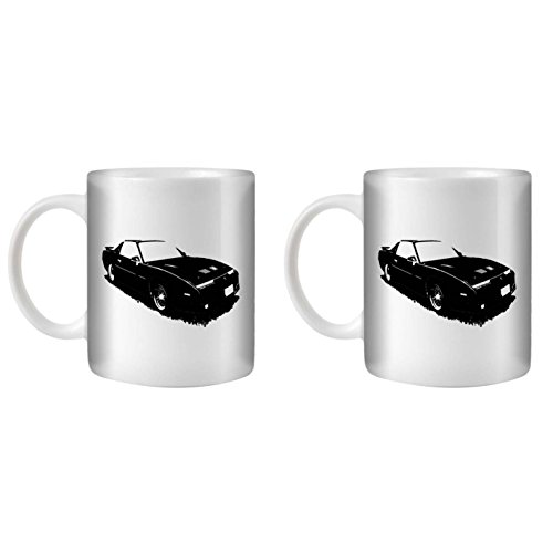 STUFF4 Tee/Kaffee Becher 350ml/2 Pack Schwarz/1987 Firebird Trans Am GTA/Weißkeramik/ST10