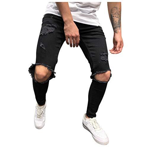 Lang Hosen Herren Sport Autumn Pure Color Loch Denim Vintage Wash Hip Hop Arbeitshose Jeans Hosen Schwarz M -