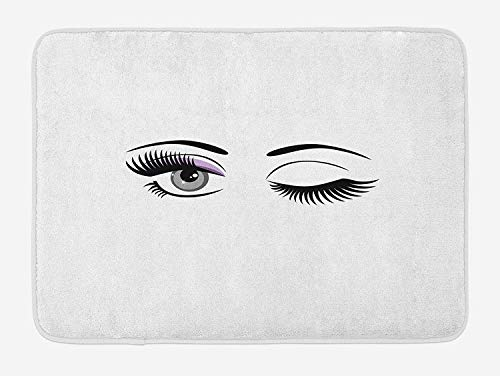 2ef8f8e2b20 Eyelash Bath Mat, Cartoon Style Dramatic Woman Eyes with Long Lashes  Winking Flirting Gesture,