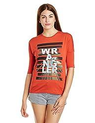 Wrangler Womens Plain T-Shirt (W25276EV03BA00M_Jsw-Burnt Ochre)