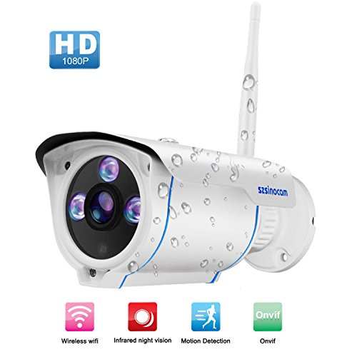 [Updated Version] Wireless Security Camera Outdoor,SZSINOCAM FHD 1080P Wifi IP Cameras,Waterproof Surveillance CCTV camera Night Vision With Advanced chips, Onvif Motion Detect,Email Alert,Automatically Recording For Indoor Outdoor