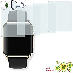 4x Disagu ClearScreen Overlay Screen Protector for Apple Watch 42mm-Anti-Bacterial edition Bluel Light Cut Filter (Deliberately Smaller than Display due to Curved Shape)