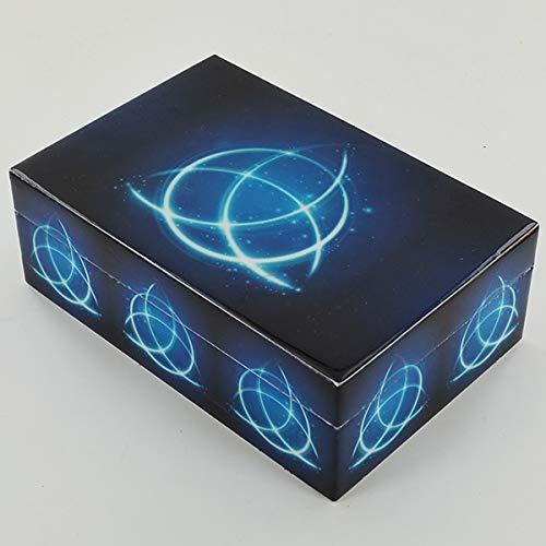 Prezentscom Triquetra Blaue Kaminbox aus Holz mit Deckel für Schmuck Gothic Pagan Fantasy Geschenk