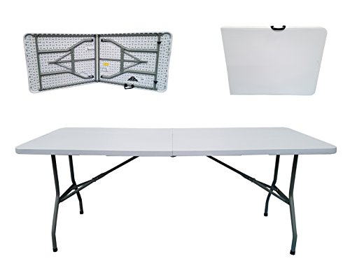 Folding Tables UK Rectangular Plastic Top Fold In Half Table, 400 Kg Load  Capacity With Steel Securing Pins, 6 Foot