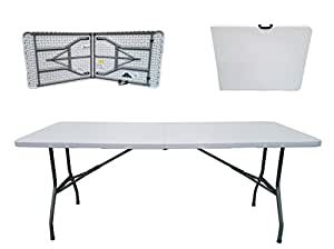Folding Tables UK Rectangular Plastic Top Fold In Half Table, 400 Kg Load  Capacity With