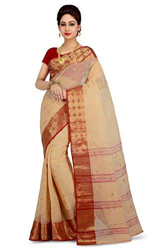 Wooden Tant Beige Cotton Handloom Saree With Zari Buti Work For Women
