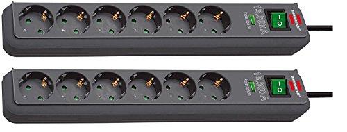 Brennenstuhl Eco-Line, Steckdosenleiste 6-fach mit Überspannungsschutz (mit Schalter und 1,5m Kabel - besonders stromsparend) Farbe: anthrazit (2er Set)