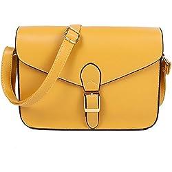 SODIAL Bolso de mujer bolsa de mensajero bolsa de sobre vintage de estilo de colegio bolsa de hombro maletin de alta calidad amarillo
