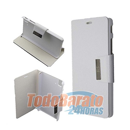 Todobarato24h Funda Libro Blanca para BQ Aquaris Fnac Phablet E5 HD FHD