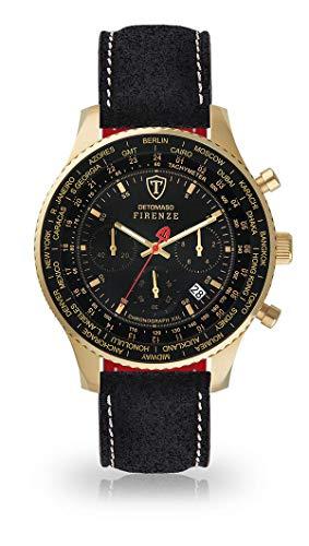 DETOMASO Firenze XXL Herren-Armbanduhr Chronograph Analog Quarz Vergoldetes Edelstahl-Gehäuse Grünes Zifferblatt (Leder - Schwarz (Naht: Weiß))