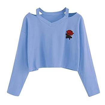 d139df802f429 ... Bonjouree Sweat-Shirt Courte Femme Imprimé Rose T-Shirt Manches Longues  Ado Fille Pull. Vêtements   Bonjouree