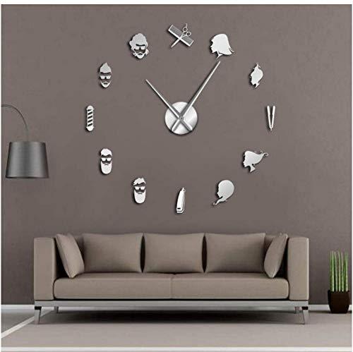 mazhant Barber Pole Shears Beauty Salon DIY Wall Art Reloj De Pared Gigante Aguja Grande Sin Marco Tienda De Peluquería Peluquería Reloj De Pared Grande47inch
