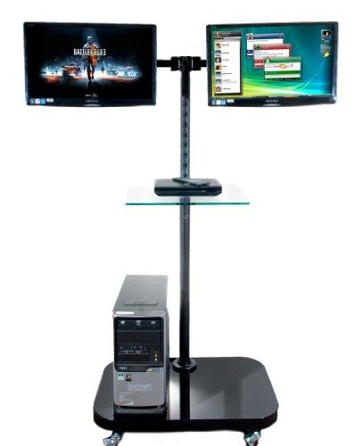 FS948MDM2 mobilen Stock für 2 LCD-Monitore / Fernseher stehen mit Glasablage