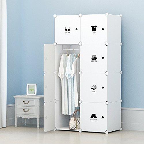 Erweiterbares Kleiderschrank mit Kategorie Aufkleber für Kinderzimmer 440L, 75 x 47 x 147 cm, Weiß...