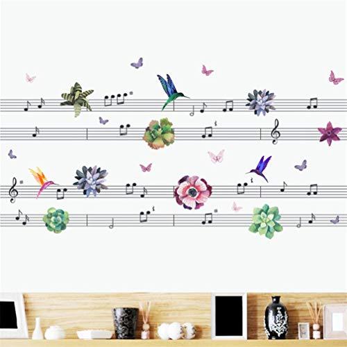 (EWQHD Musik-Aufkleber Themen Musik Schlafzimmer-Dekor Tanzmusik Hinweis Entfernbare Wand-Aufkleber-Karikatur Tier Schmetterling Vogel Blumen Pflanzen)