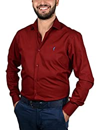 DOMENICO AMMENDOLA Camicia da Uomo Impero Bordeaux, Cotone 100%, Slim Fit, Collo Francese Piccolo, Made in Italy