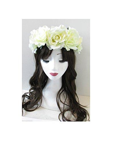 Grandes fleurs blanc crème rose bandeau Guirlande Couronne Vintage Festival Boho 29 * * * * * * * * exclusivement vendu par – Beauté * * * * * * * *