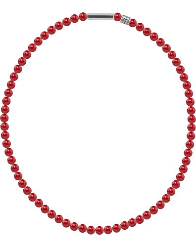 Perlenkette Mini mit original Swarovski ® Perlen, Kettenlänge:42cm, Farbe:red Coral Pearl