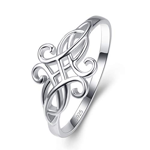 318f12882d1a4 AVECON Celtic Knot Love Promise Ring 925 Sterling Silver Stackable Band for  Women Comfort Fit