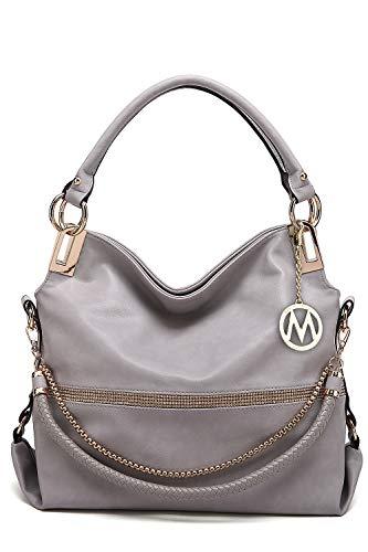 2 in 1 Damen Handtasche Twister groß New Designer Umhängetasche Crossbody Shoulder Bag - Valentinstag Geschenk für Sie, Grau (Light Grey-twister), Large -