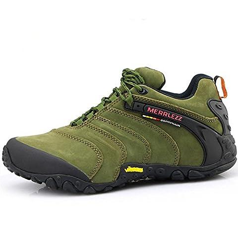 Herren Leder Outdoor Sportschuhe für Trekking Wandern Camping langlebig rutschfest geeignet für eine Vielzahl von Outdoor-Umgebungen , army green ,