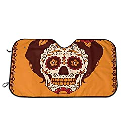 Windshield Sunshade for Car,Mexican Skull Girl with Hair and Flower Wreath Print,Front Window Sun Shade Visor Shield Cover(27.5 x 51)