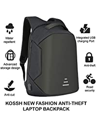 Kossh Anti Theft, Waterproof Casual Backpack with USB Charging Point - Fashion Bag for 16 inch Laptop, 30 Ltrs - Black